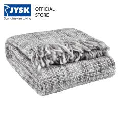 Chăn sofa JYSK Hvitkurle acrylic trắng/xám 130x180cm