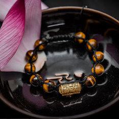 Vòng tay handmade thủ công phong thủy đá mắt hổ vàng Kinh tự Om Mani Vàng shamballa phật giáo