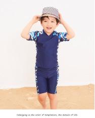 Bộ đồ bơi bé trai 3 món,kèm nón,phối họa tiết cây dừa, hàng QC,
