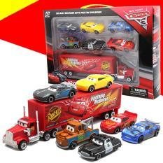 Bộ đồ chơi trẻ em xe mô hình bằng Hợp Kim gồm 6 xe con + 1 xe tải lớn Lightning MC Queen