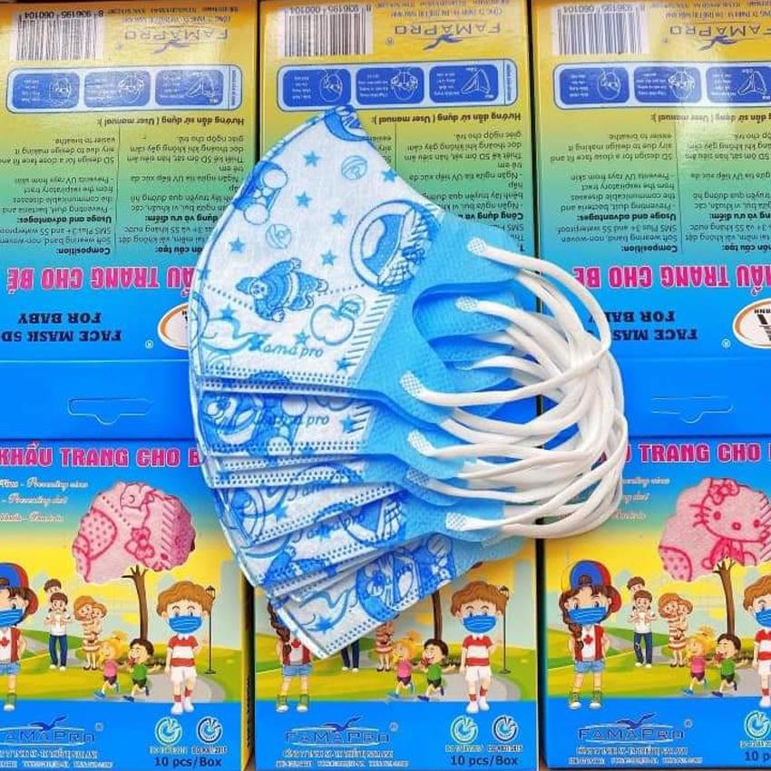 [HỘP 10 CÁI] Khẩu Trang Y Tế Trẻ Em (0-5 Tuổi) Kháng Khuẩn/Chống Virus 99% (5D FAMAPRO - 3D MASK...