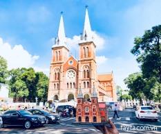 Bộ lắp ráp Mô hình 3D Nhà thờ Đức Bà Sài Gòn 37x17x22cm 92 mảnh ghép giấy kraft cao cấp