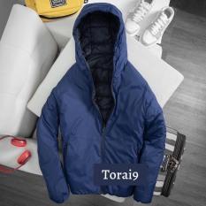Áo phao nam Quảng Châu dáng dài cao cấp hàng hiệu đẹp 2 mặt lông vũ có mũ cổ cao cao cấp mặc thu đông siêu ấm áp