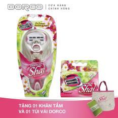 Bộ Dao cạo và Vỉ 04 đầu dao cạo cho nữ 3 lưỡi kép DORCO Shai 3 + 3, Tặng 01 Khăn tắm DORCO và 01 Túi vải Shai