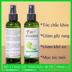 Bộ 2 chai xịt dưỡng tóc tinh dầu bưởi kích thích mọc tóc pomelo (100ml x 2) giúp giảm rụng tóc, nuôi dưỡng tóc từ gốc đến ngọn cho mái tóc chắc khỏe và suôn mượt tự nhiên