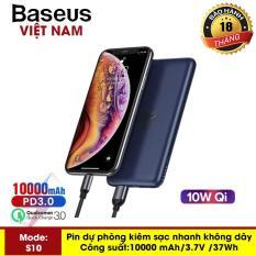 Pin dự phòng Baseus S10 siêu mỏng sạc nhanh không dây 10W, dung lượng pin 10000 mAh công nghệ sạc nhanh cổng PD 3.0 sạc nhanh 2 chiều và Qualcomm QC 3.0 thiết kế đẹp độc đáo – Phân phối bởi Baseus Vietnam