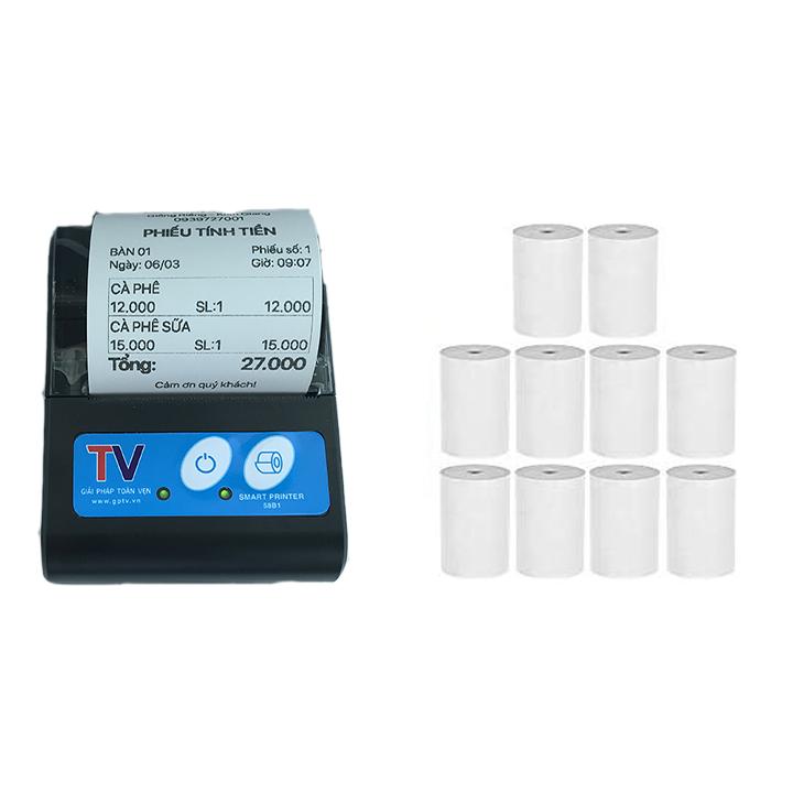 Máy in hóa đơn, máy in bluetooth Mini Di Động bỏ túi cho Windows Android IOS Hỗ trợ in ViettelPay Pro, KiotViet kèm 10 cuộn giấy