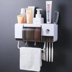 Bộ nhả kem đánh răng kèm kệ để đồ nhà tắm đa năng 2 cốc