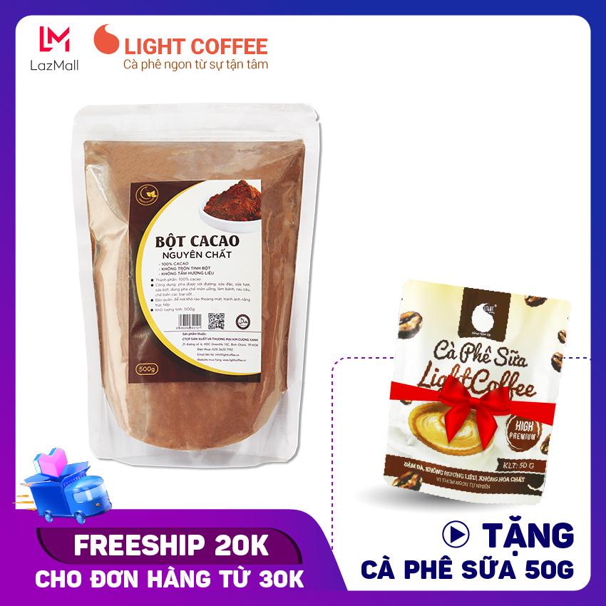Bột cacao nguyên chất 100% – Light cacao không đường dùng làm socola, làm bánh, chế biến thức uống – 500gr