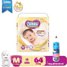 Tã dán cao cấp Bobby Extra Soft Dry size M – 64 miếng (6-10kg) – Tặng 1 gối ôm bút chì xinh xắn