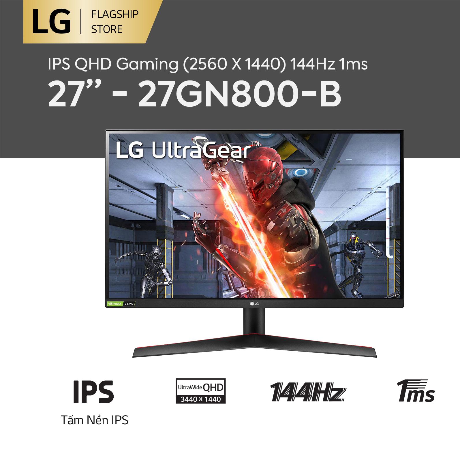 [TRẢ GÓP 0%] Màn hình máy tính LG IPS QHD (2560 X 1440) 144Hz 1ms 27 inches l 27GN800-B l...