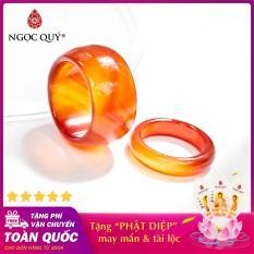 Nhẫn cặp nam, nữ đá mã não đỏ (màu đỏ cam) – Ngọc Quý Gemstones
