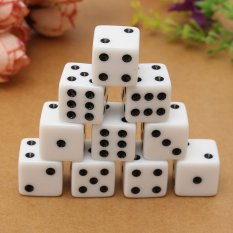 10PCS 16mm Gaming Dice Standard Six Sided Die 6D RPG For Birthday Parties White – intl