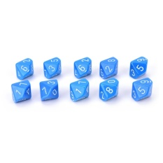 10pcs Acrylic Role Playing Games Multiple Sides 10 Sided Dice Game Accessories Blue – intl