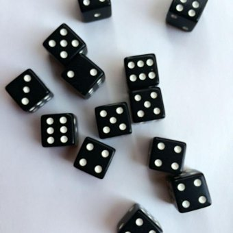 10pcs Dice Dices Gaming Standard Square Opaque Die Black With WhitePips - intl