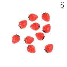10pcs Garden Craft Strawberry Ornament Mini Dollhouse Decor Hairpin Phone DIY Small :15*18MM – intl