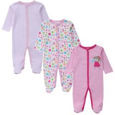 3 bộ áo liền quần tay dài bít chân cho bé gái từ 6 đến dưới 12 tháng ( hình chọn ngẫu nhiên )