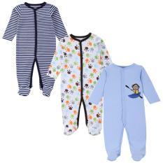 3 bộ áo liền quần tay dài bít chân cho bé trai và gái từ 0 đến dưới 12 tháng ( hình chọn ngẫu nhiên )