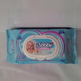 3 gói khăn ướt trẻ em đa năng Bobby 100 tờ không mùi hương màuxanh(Xanh ngọc)