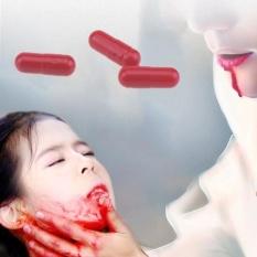 Vigo 3 cái Halloween Hồng Viên Thuốc Huyết Bể Miệng Thìa Giả Đồ Chơi Sản Phẩm Vui-quốc tế