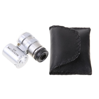 45x Mini Microscope Glass Jewelery Magnifier 2 LED Light MagnifyingKit - intl