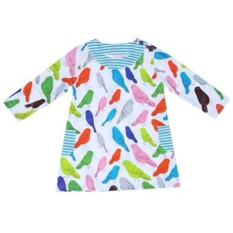 Autumn Dress for Kids Girls Long-Sleeved Birds Printed Dress Cotton Dress - intl