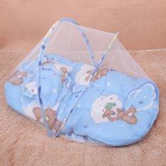 【Crystalawaking】Nôi cho bé Ngủ Chống Muỗi Côn Trùng Lưới Trẻ Sơ Sinh Gối Nệm Gối Màu Xanh-Quốc Tế