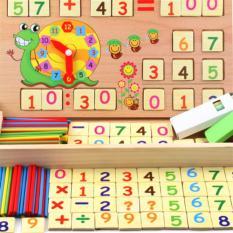 Bảng gỗ 2 mặt đa năng có que tính, bộ số và dấu dạy bé học toán
