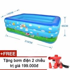 Bể phao bơi cho gia đình size lớn 210x140x63cm kèm bơm điện 2 chiều