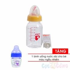 Bình sữa Pigeon 120ml nhựa PP cổ thường TẶNG 1 bình uống nước nhí màu ngẫu nhiên