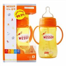 Bình sữa Wesser cổ rộng 260ml có ống hút BS076