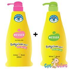 Bộ 2 chai chai Sữa tắm gội Wesser 500ml Xanh + Hồng