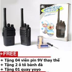 Bộ 2 chiếc bộ đàm 1 kênh tần số loại 100m + Tặng 4 viên pin 9V + Tặng 2 ô tô bánh đà + Tặng 01 quay yoyo