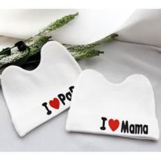 Bộ 2 Mũ sơ sinh I love papa, mama