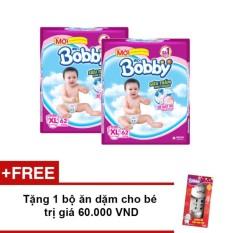 Bộ 2 Tã giấy Bobby siêu mỏng XL62 + Tặng 1 bộ ăn dặm cho bé trị giá 60.000 VND