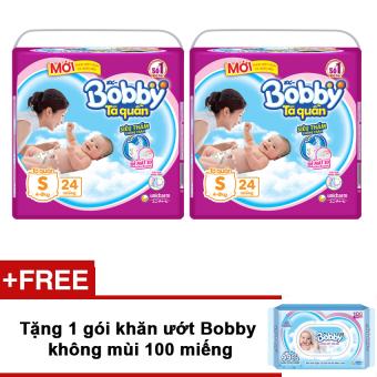 Bộ 2 tã quần Bobby S24 + Tặng khăn ướt Bobby không mùi 100 miếng