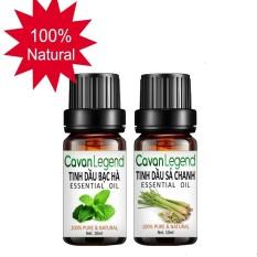 Bộ 2 tinh dầu thiên nhiên Cavan Legend bạc hà 10ml và sả chanh 10ml
