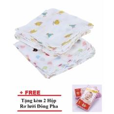 Bộ 2 Túi 10 khăn xô có hình 2 lớp 32x32cm công nghệ Nhật Bản + Tặng 2 Hộp Rơ lưỡi Đông Pha