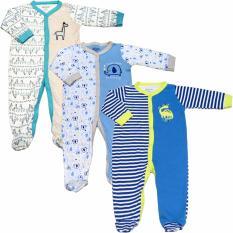 Bộ 3 áo liền quần liền tất bé trai Baby (Màu sắc ngẫu nhiên)