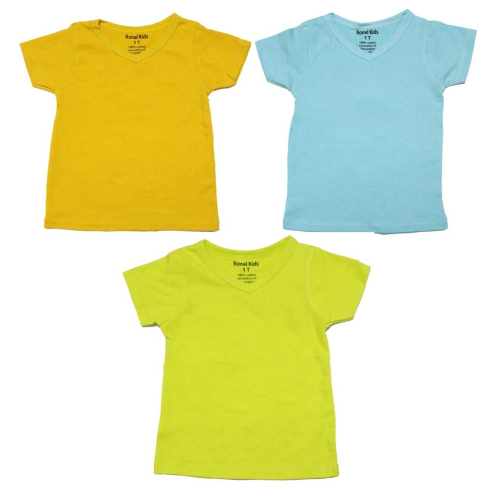 Bộ 3 áo thun cổ tim nhiều màu Ronal Kids