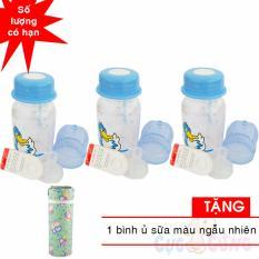 Giá Sốc Bộ 3 bình trữ sữa có kèm núm ty và van chống sặc 140ml họa tiết ngẫu nhiên TẶNG 1 ủ bình sữa màu ngẫu nhiên
