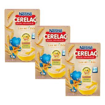 Bộ 3 bột ăn dặm Nestlé CERELAC Lúa mì sữa  mới