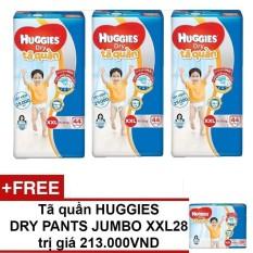 Bộ 3 tã quần Huggies Dry Pants Big Jumbo XXL44 44 miếng (15-25kg) + Tặng 1 tã quần Huggies Dry Pants Big Jumbo XXL28 trị giá 213.000VND