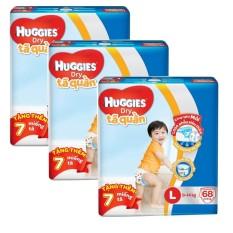 Bộ 3 tã quần Huggies Dry Pants L68 (8 - 13kg) + Tặng 7 miếng /gói