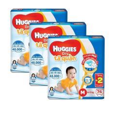 Bộ 3 tã quần Huggies Dry Pants Super Jumbo M74 74 miếng/ gói (5-10kg) + Tặng 2 miếng tã quần/ gói