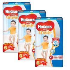 Bộ 3 tã quần Huggies Dry Pants XL48 (12 – 17kg) + Tặng 6 miếng /gói