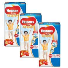 Bộ 3 tã quần Huggies Dry Pants XXL44 (15 – 25kg) + Tặng 6 miếng /gói