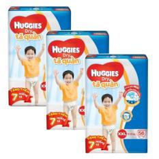 Bộ 3 tã quần Huggies Dry Pants XXL56 (Trên 16kg) + Tặng 7 miếng /gói