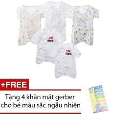 Bộ 5 áo liền quần vải xô cho bé sơ sinh + Tặng 4 khăn mặt gerber cho bé màu sắc ngẫu nhiên