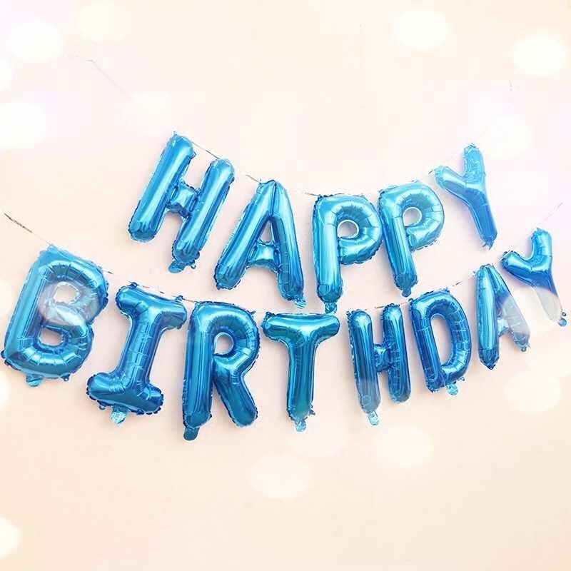 Bộ Bong Bóng Nhôm chữ HAPPY BIRTHDAY ( XANH DƯƠNG) + Kèm đồ bơm, băng keo, dây treo và 10 bong bóng tròn